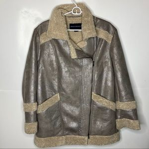 French connection faux shearling coat M metallic